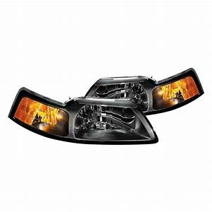 Anzo® - Ford Mustang with Factory Halogen Headlights 2003 Black Euro Headlights