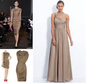 dresses to wear to a fall wedding brown taupe bridesmaids dresses fall 2012 wedding style inspiration onewed