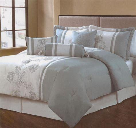 7 pieces queen size comforter set blue embroidery jasmine