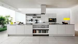 la cuisine blanche dans toute sa splendeur With cuisine avec grand ilot central