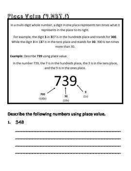 4th Grade Math Common Core Worksheet (4nbt1) By Teachlivedream