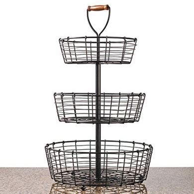 NEW 3 Tier Wrought Iron Wire Basket Storage Fruit Rack