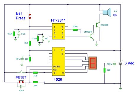Electronic Doorbell With Counter Circuit Diagram