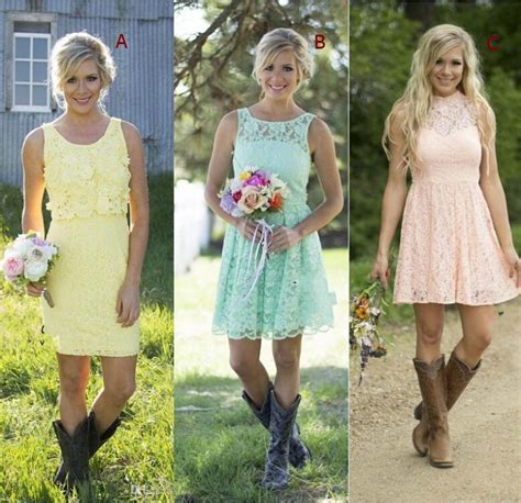 2016 Country Style Short Lace Bridesmaid Dresses Mixed