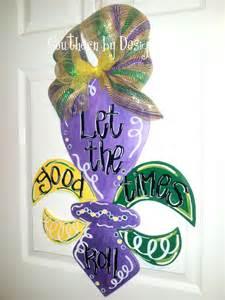 mardi gras fleur de lis wooden door hanger let the times