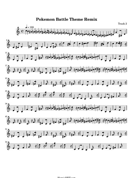 pokemon battle theme remix sheet music pokemon battle