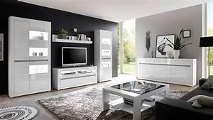 Wohnwand Hochglanz Grau : wohnwand 2 carat anbauwand wohnzimmer wei hochglanz und beton grau ~ Eleganceandgraceweddings.com Haus und Dekorationen