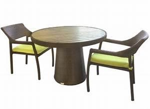 Table Ronde Exterieure : 3b table ronde patio ext rieure delia 44 pouces avec surface en bois de teck synth tique ogni ~ Teatrodelosmanantiales.com Idées de Décoration