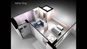 1 Room HDB Flat, Corner, 1 Studio Apartment, 1SA Model, 3D