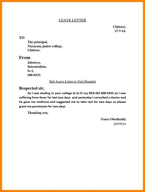 15 explanation letter for leave of college weekly template