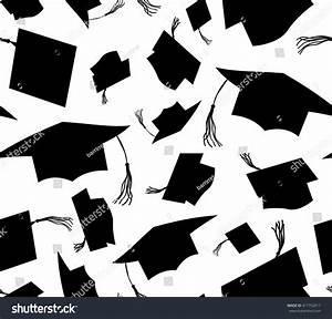 Black Silhouette Throwing Graduation Caps On White ...