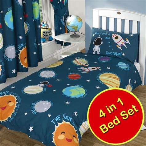 solar system space bedding single junior duvet covers matching curtains ebay