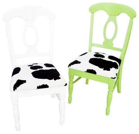 cow print chairs in green and white set of 2 eclectic