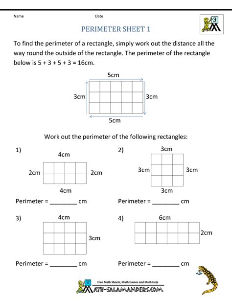 free math worksheets 3rd grade perimeter perimeter worksheets
