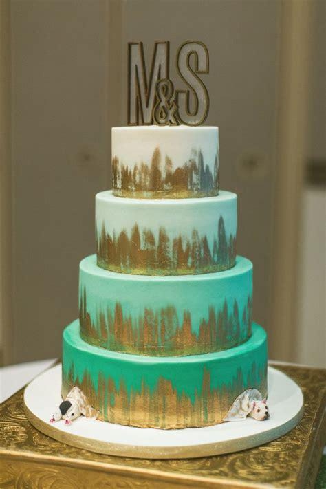 teal mint  gold modern wedding cakes dessert