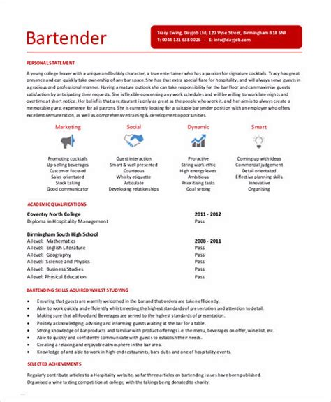 Bartender Resume Sle by Review Revise Bartender Resume Www Drpools Us