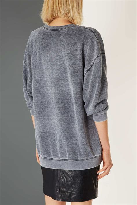 wash sweater topshop acid wash sweater by boutique in gray lyst