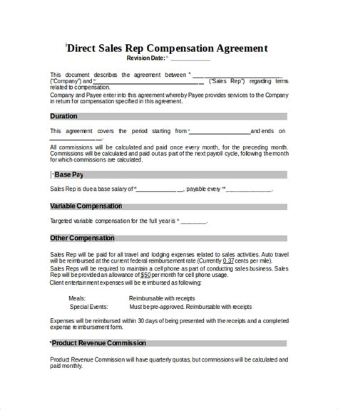 Sales Commision Structure Template by Compensation Plan Template 8 Free Word Document