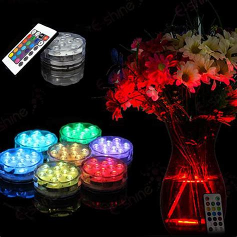 piecelot rgb submersible led waterproof led accent light   key ir remote  wedding