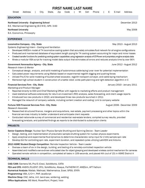 bioengineering entry level resume sales engineering