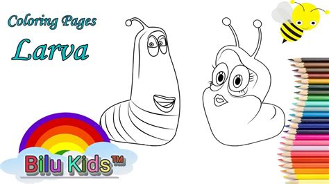 coloring book pages larva bilu kids youtube