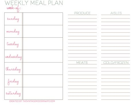 meal prep template weekly meal planning with the vmw the vintage modern