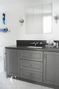 Gray granite bathroom countertop design ideas for White bathroom vanity with black countertop