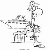 Coloring Ship Cartoon Cruise Tourist Waves Boat Outline Pages Leishman Posing Male Vector Clipart Getcolorings sketch template