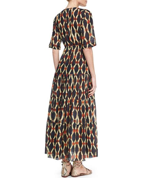 figue kalila printed tiered drawstring dress