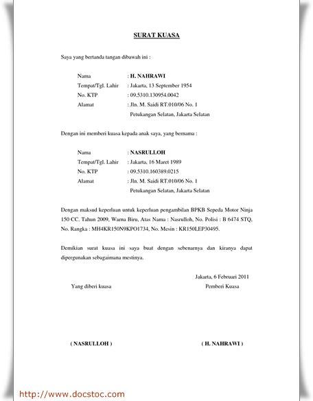 contoh format surat kuasa pengurusan administrasi