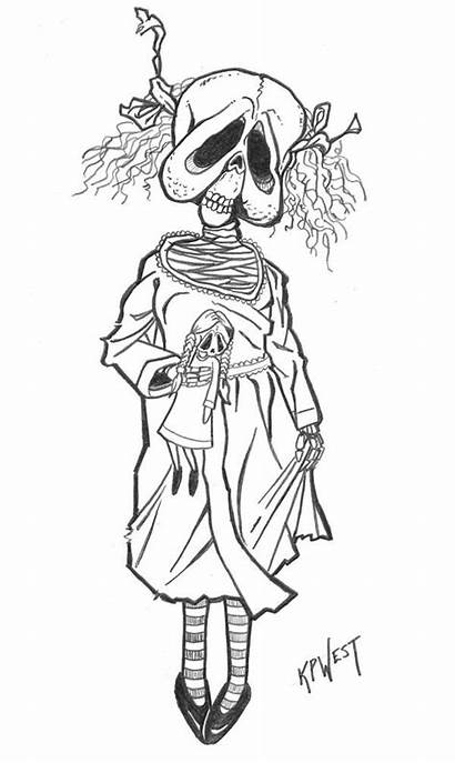 Creepy Coloring Doll Zombie Drawings Drawing Adult