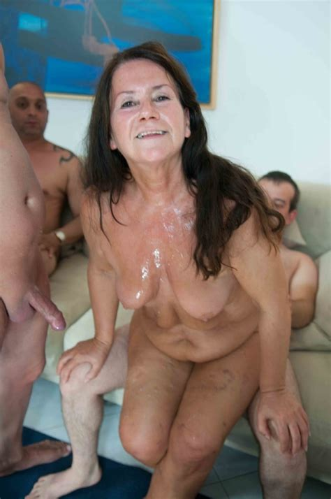 matured chubby granny celebrates birthday with her tattooed friends and lots of cum gusti