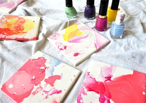 ceramic tile crafts watercolor effect tile coasters an easy diy with nail