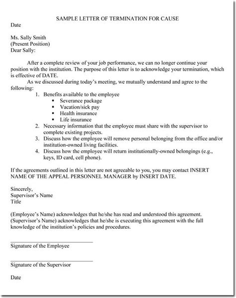 Taxpayer.com.au | the sample employee termination letter with notice period for free is a superbly drafted sample employment termination letter template which helps you to draft any. Job Termination Letter (Without Cause) Samples & Examples