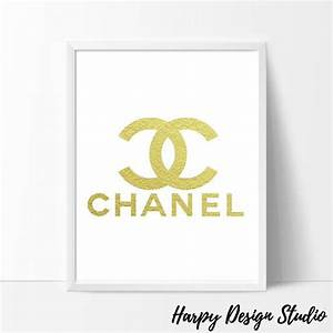 Coco Chanel Chanel Logo Chanel Art Gold Wall Art Gold Foil