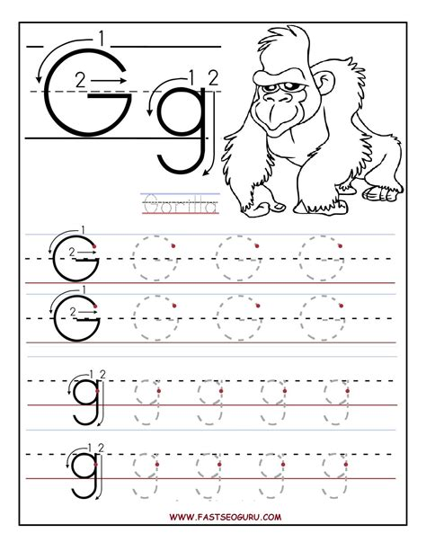 printable letter g tracing worksheets for preschool a4 657 | 40a4f0f7d5ef28473f3766ff59823815