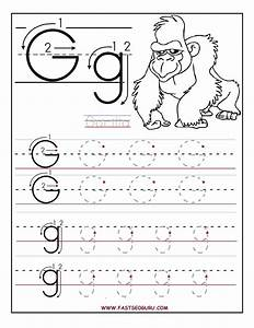 printable letter g tracing worksheets for preschool a4 With traceable letters for pre k