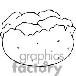 Baked Potato Black And White Clipart