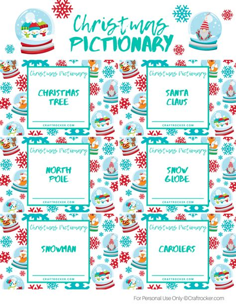 Printable Christmas Pictionary Game Craft Rocker