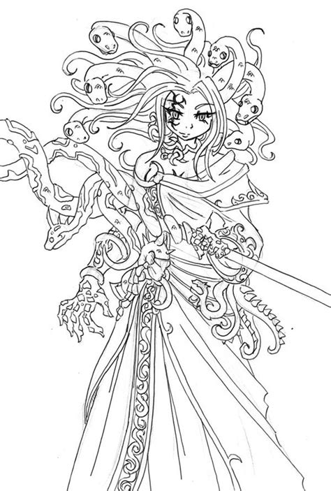 awesome medusa drawing coloring page netart