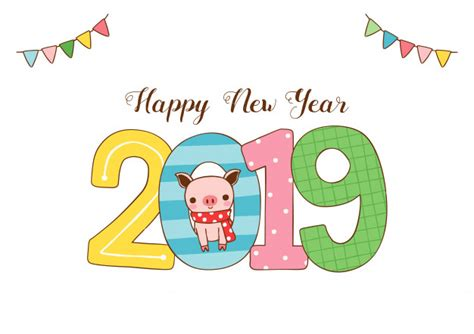 Happy New Year Greeting Card 2019 With Cute Pig In Flat