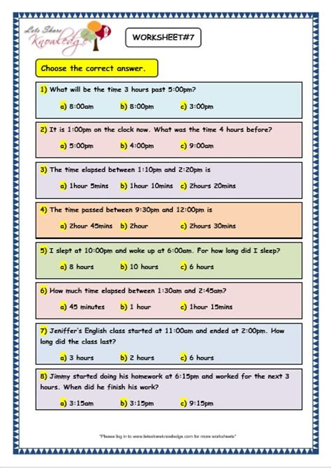 grade  maths worksheets  elapsed time lets share