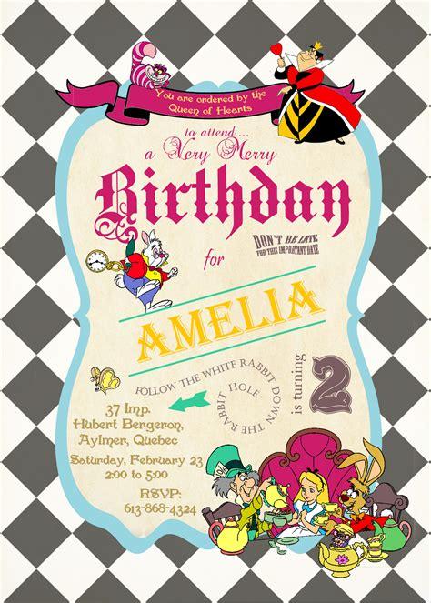 alice  wonderland birthday invitations  invitation