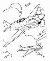 Coloring Pages Airplane Fighter Plane Drawing Military Sheet Drawings Outline War Aircraft 40 Jet Sheets Warhawk Uss Getdrawings Veterans Ww2 sketch template