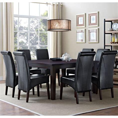 Black Dining Room Sets by Simpli Home Avalon 9 Midnight Black Dining Set