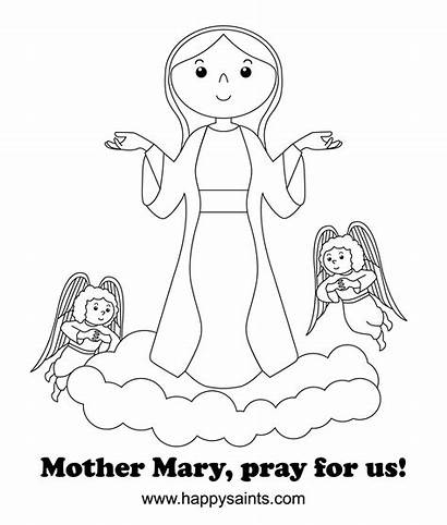 Coloring Mary Catholic Mother Pages Saints Pray