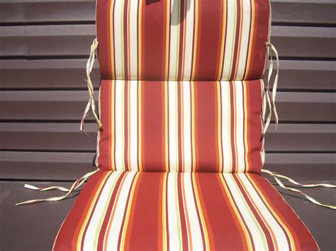 4 New Red And White Striped Outdoor Chair Cushions