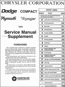 1975 Dodge Plymouth Van Repair Shop Manual Supp  Sportsman
