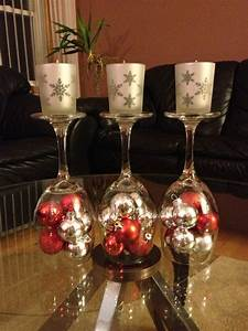 DIY Upside down wine glasses with small Christmas ...