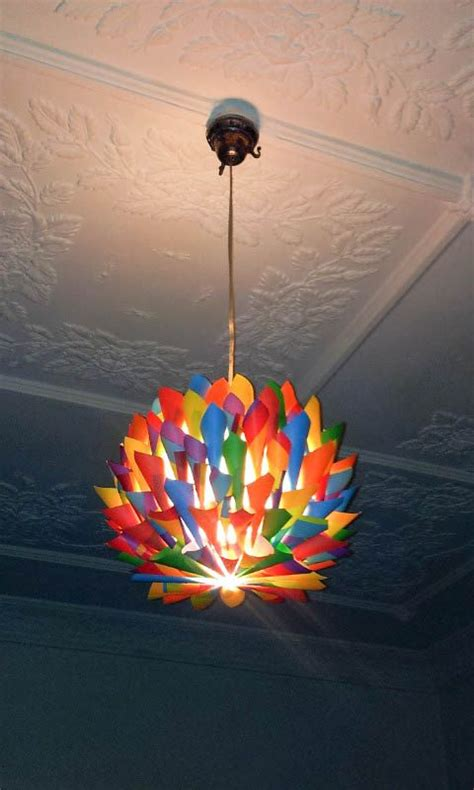 rainbow multi colored paper cone pendant light hanging